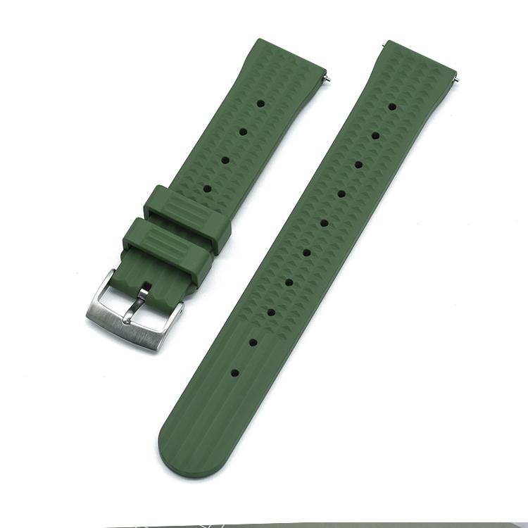 Waffle klockarmband av grönt FKM gummi 20mm 22mm