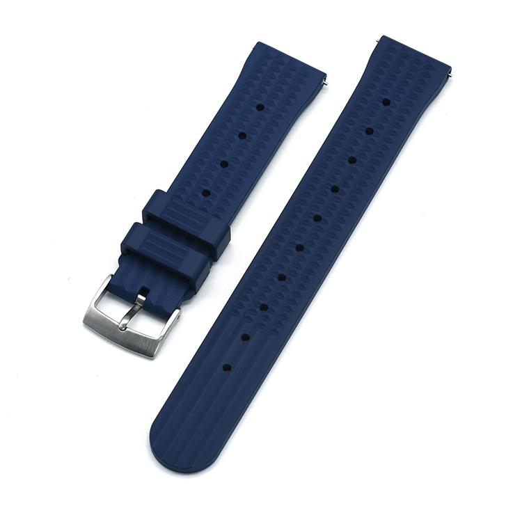 Waffle klockarmband av blått FKM gummi 20mm 22mm