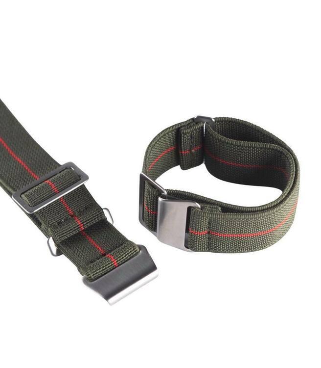 Grönt och rött elastiskt klockarmband 18mm 20mm 22mm