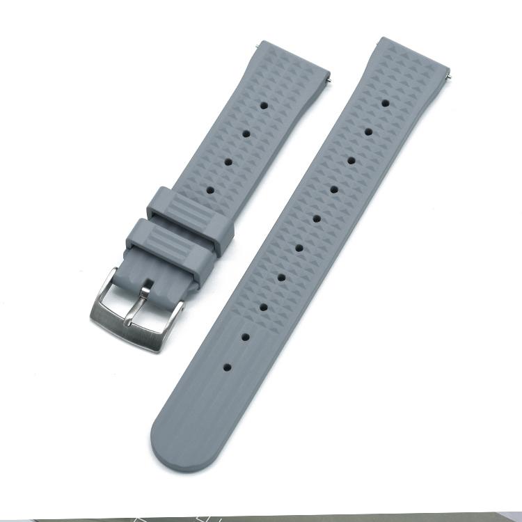 Waffle klockarmband av grått FKM gummi 20mm 22mm