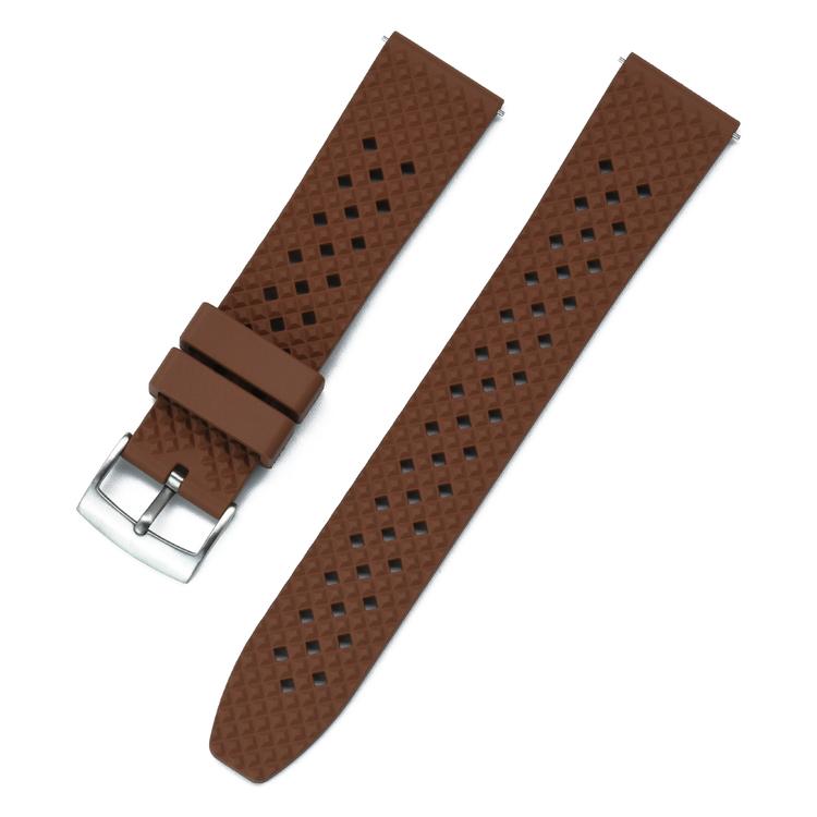 Honeycomb klockarmband av brunt FKM gummi 18mm 20mm 22mm 24mm