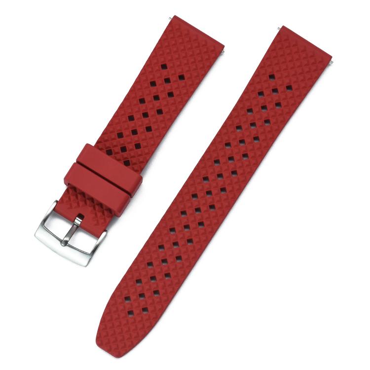 Honeycomb klockarmband av rött FKM gummi 18mm 20mm 22mm 24mm