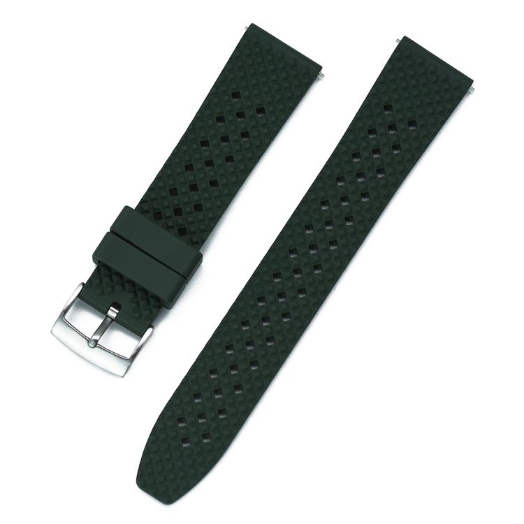 Honeycomb klockarmband av grönt FKM gummi 18mm 20mm 22mm 24mm
