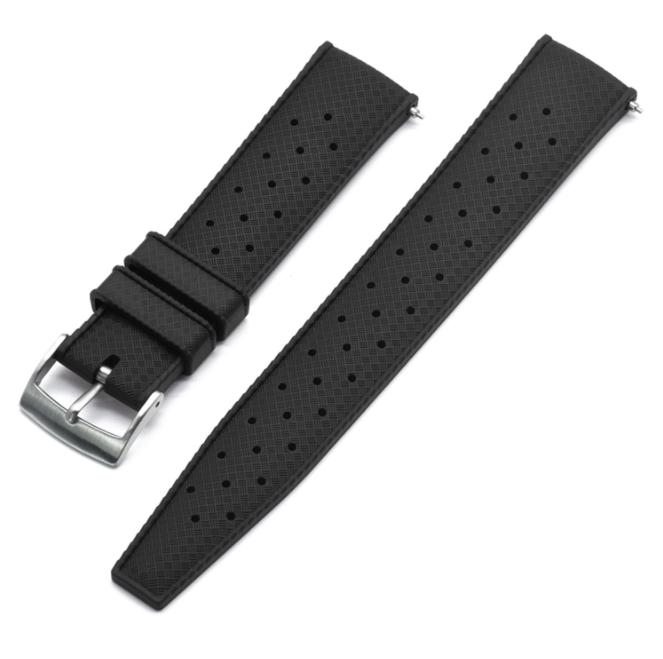 Tropic klockarmband av svart FKM gummi 20mm 22mm