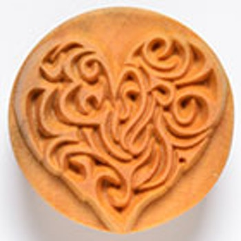 Stämpel Curly Heart 4 cm