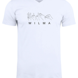 Personlig T-shirt på teckenspråk - V-neck - Unisex