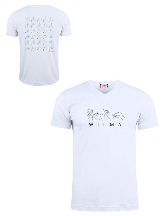 Unik och personlig T-shirts med namn/valfritt ord eller hela handalfabetet på svenskt teckenspråk.