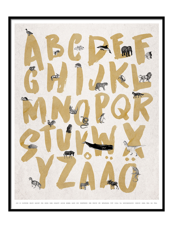 Alfabet Poster - Gul