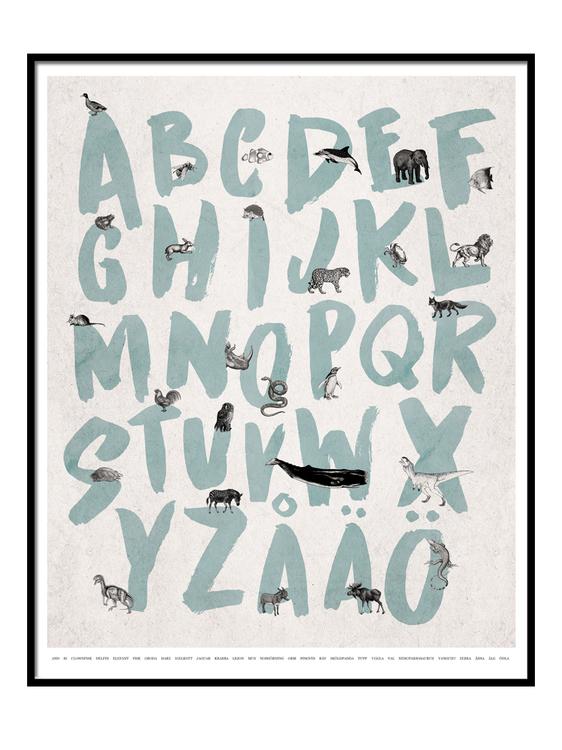 Alfabet Poster - Blå