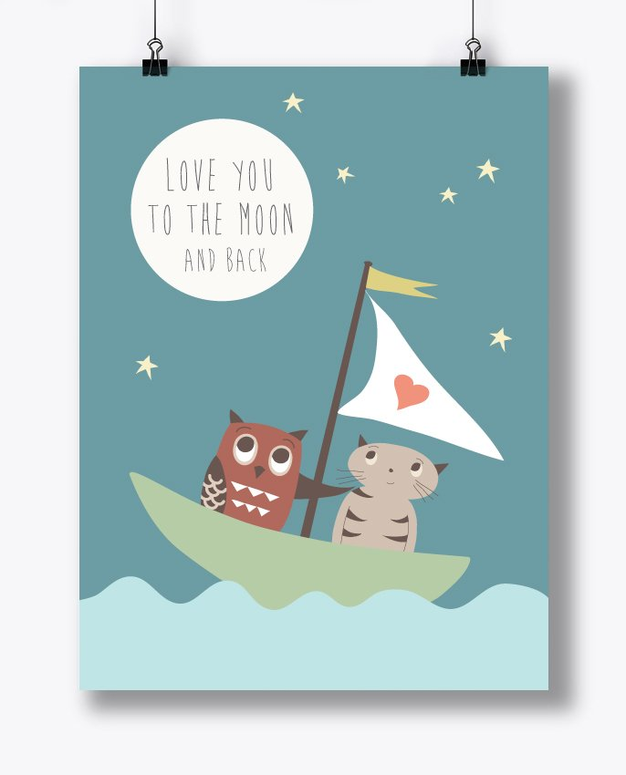 Cat & Owl Poster