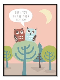 Owls in Tree - Poster