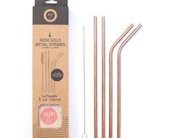 Sugrör Metall roséguld 4-pack