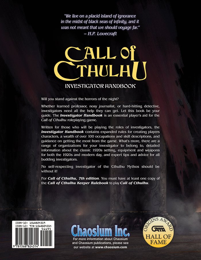 Call of Cthulhu Investigator Handbook (7th ed.)