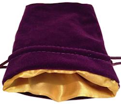 Dice Bag - Purple Velvet & Golden Satin