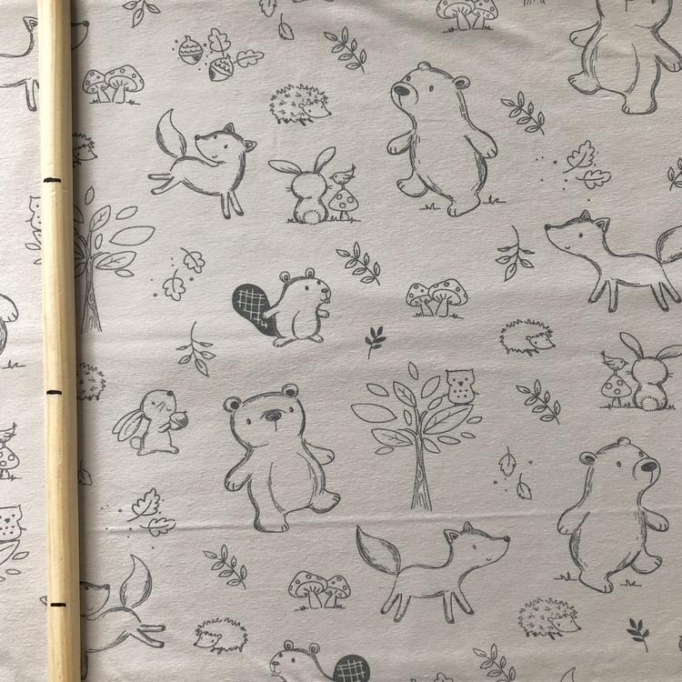 EKO Bomullsjersey - Beige med skogens djur