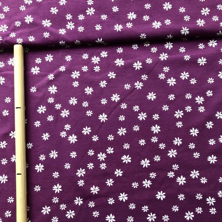 EKO Bomullsjersey - Lila blom