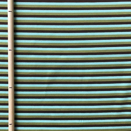 EKO Bomullsjersey - Randig mint/grön/brun