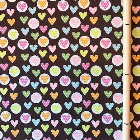 Bomullsjersey - Prickiga hjärtan