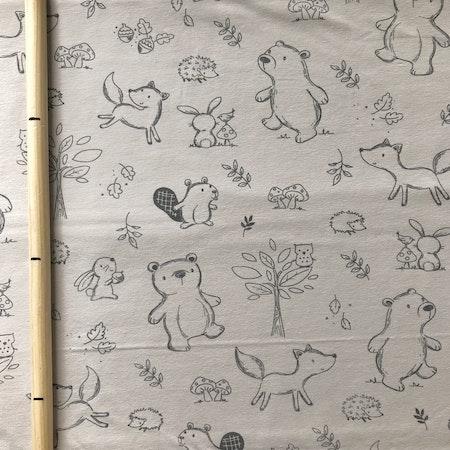 Stuv - Beige med djur - Bomullsjersey - Olika storlekar