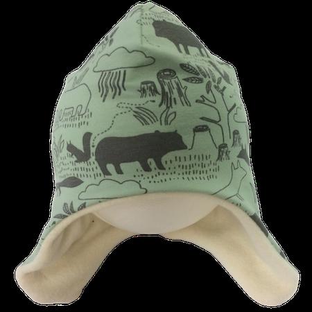 EKO  Fleecefodrad mössa, ljusgrön med djur