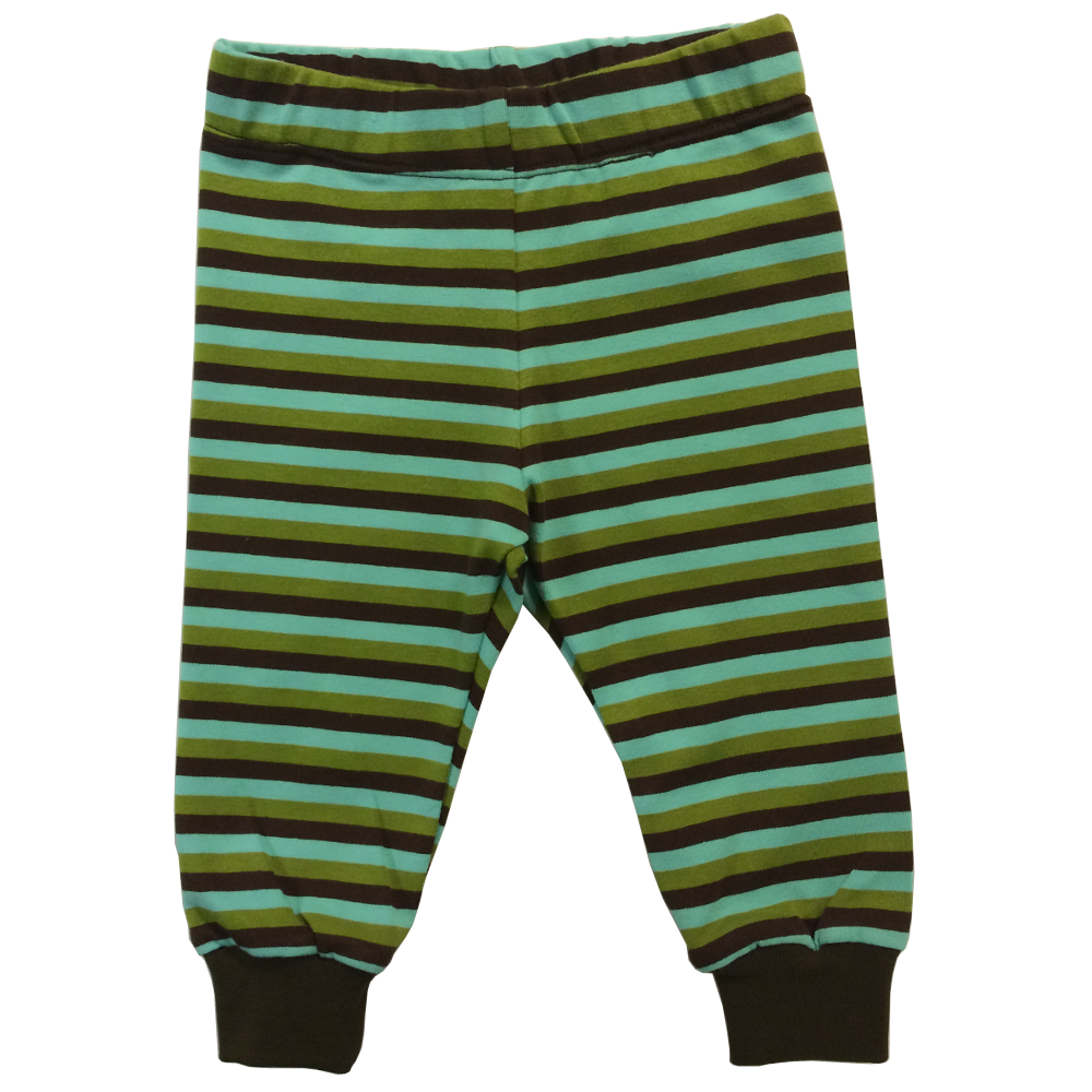 EKO  Trikåbyxa, randig brun/grön/turkos