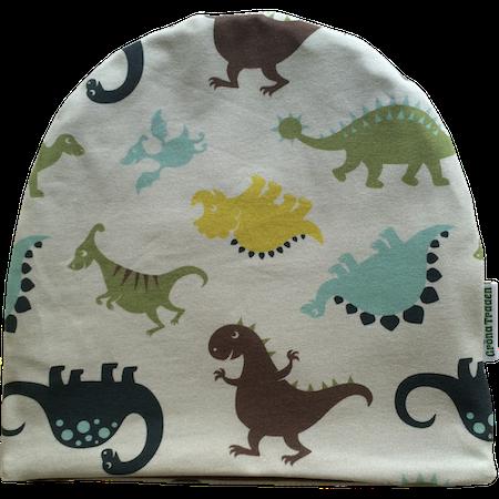 EKO  Mössa med dinosaurier, khaki