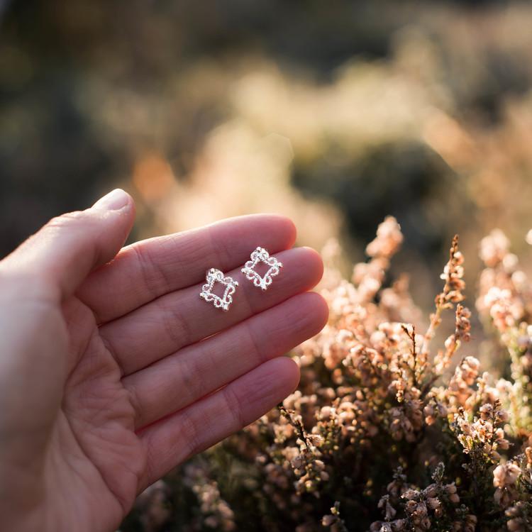 ''Fri'' Silver Earrings