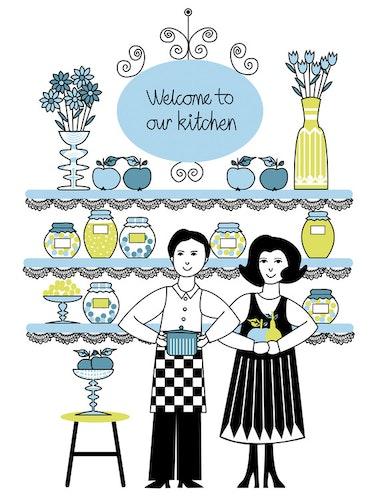 Grafiska trycket Welcome to our Kitchen - Turkos