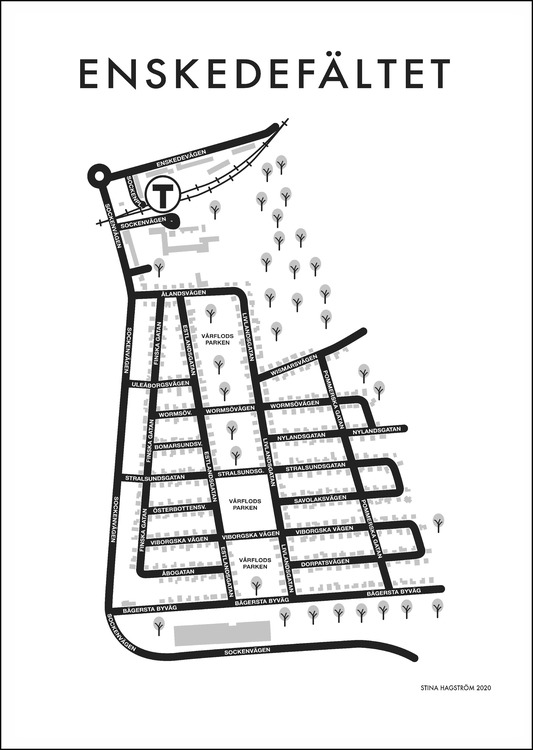 Affischen Enskedefältet - utan industriområdet