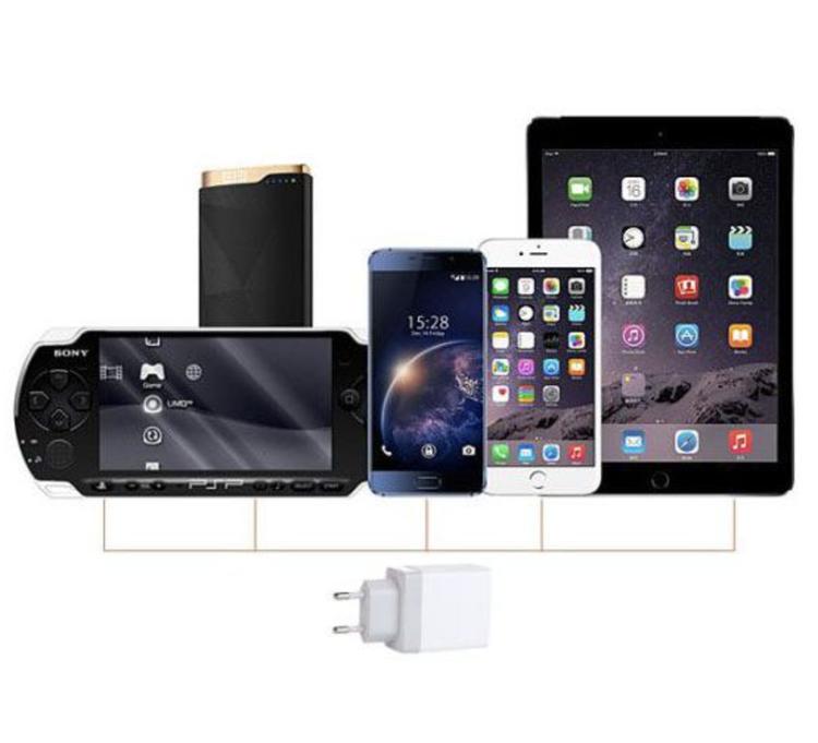 USB Snabbladdare 3-port QC3.0 med USB-C Kabel