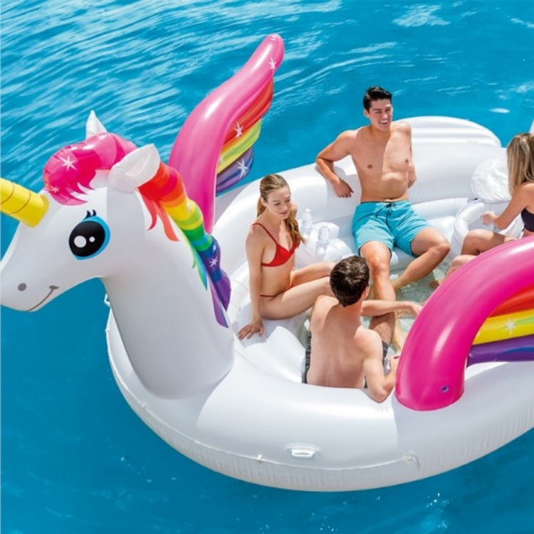 Unicorn Party Island - Intex Uppblåsbar Enhörning