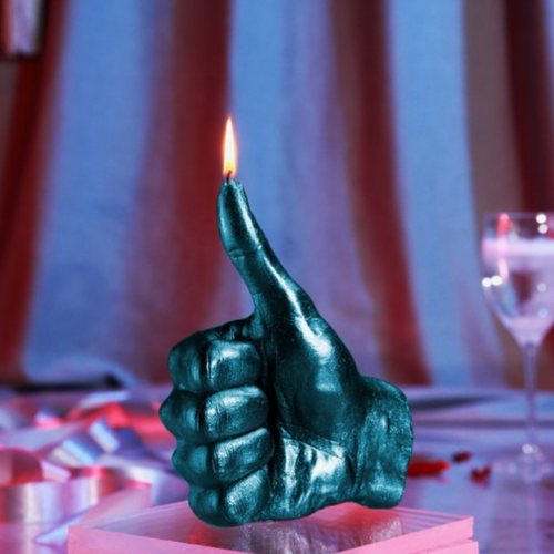 Hand Candle - Thumbs Up - Metallblå