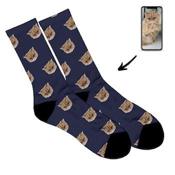 Personliga Strumpor - Face socks - Katt