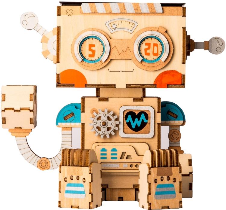 DIY Modelkit i trä -  Robot Blomkruka