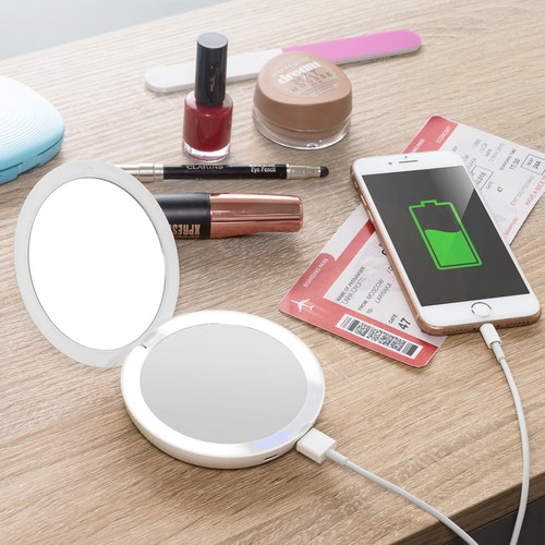 3-i-1 Sminkspegel med LED och Powerbank