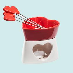 Hjärtformad Chokladfondue Set