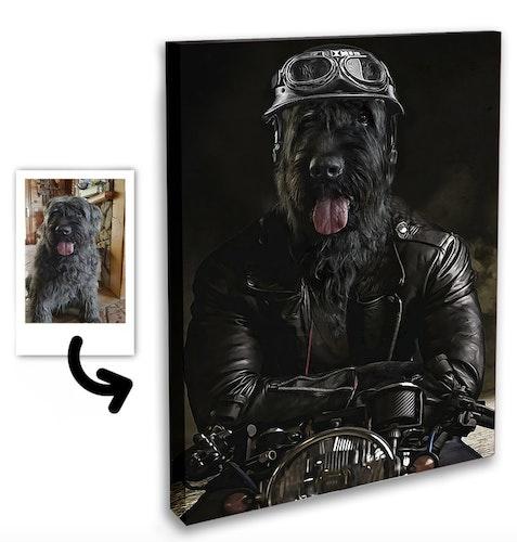 Personligt Djurporträtt - Biker Canvas