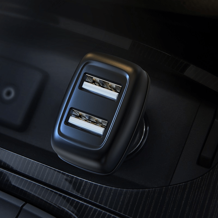 Billaddare med dubbla USB-portar - USB C Kabel