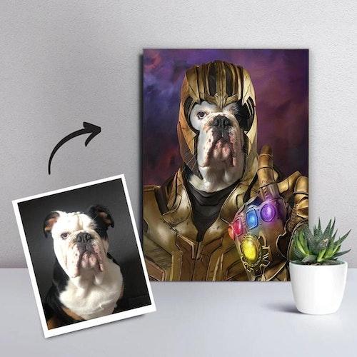 Personligt Djurporträtt Canvas - Guld Superhjälte
