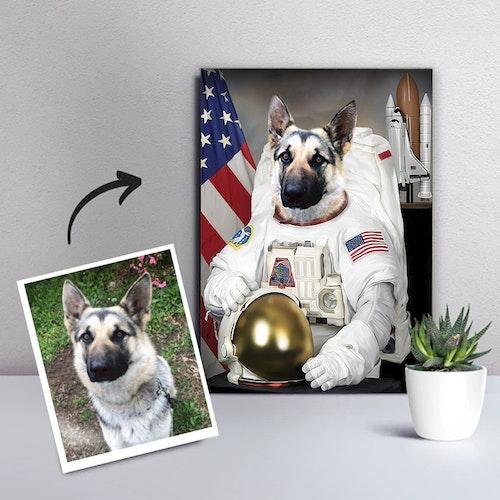 Personligt Djurporträtt Canvas - Astronaut
