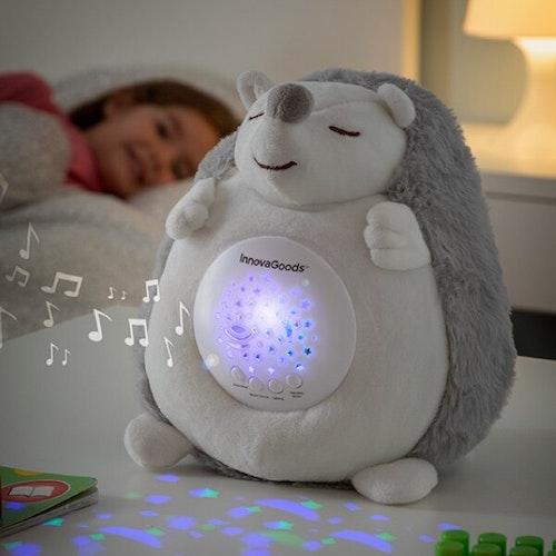 Nattlampa Igelkott med Vita Ljud och Nattlampsprojektor