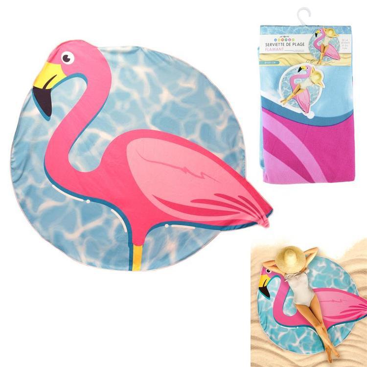 Rund Strandhandduk Flamingo