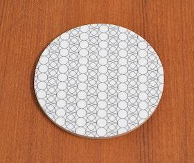 Glasunderlägg Cirkel/blad, svart/vit