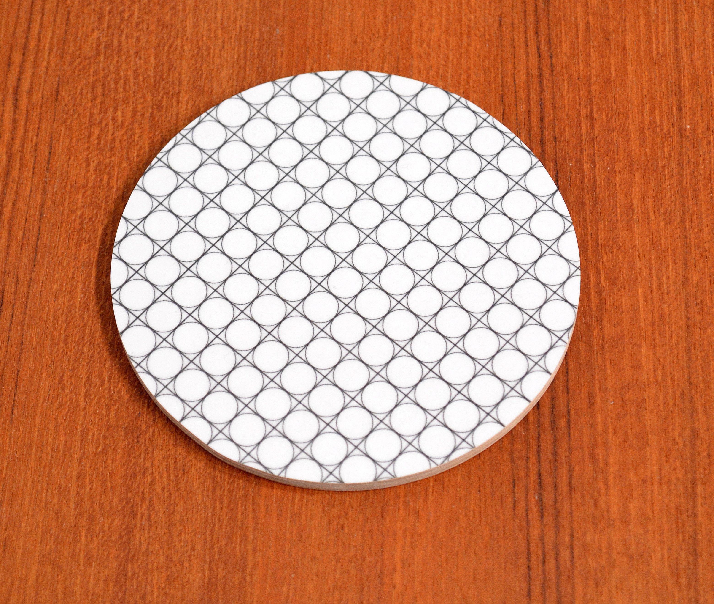 Glasunderlägg Cirkel, svart/vit