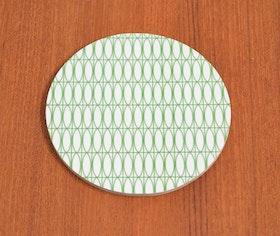 Glasunderlägg Oval, vit