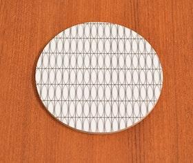 Glasunderlägg Oval, svart/vit