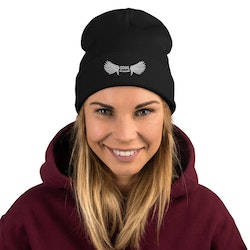 Soul Reviwing Embroidered Beanie - Black