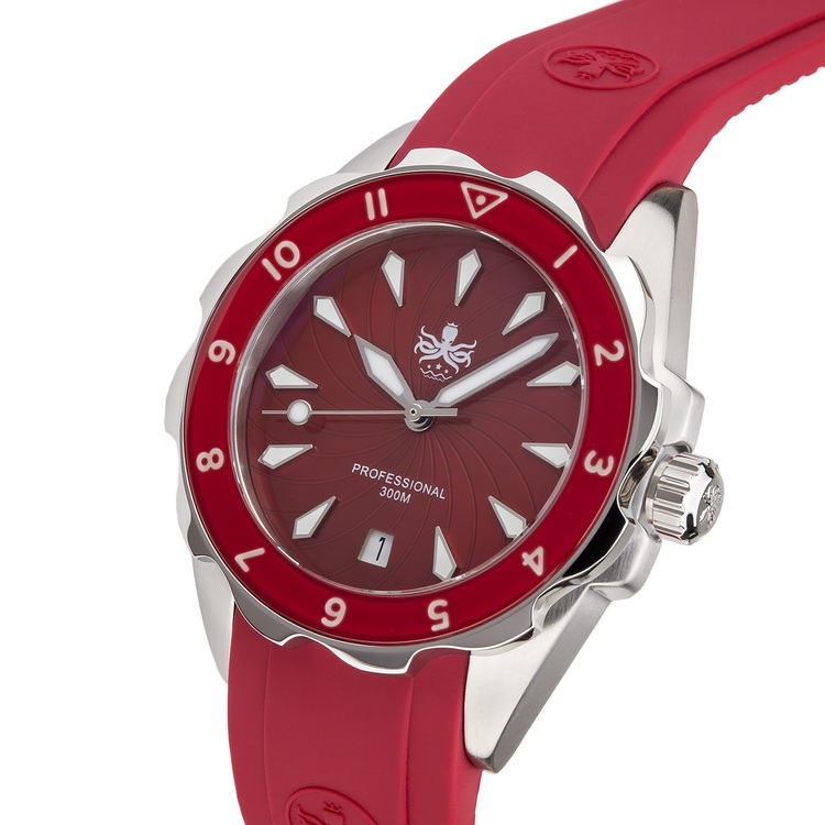 Phoibos Sea Nymf PX021E 300M Lady Diver Watch Red