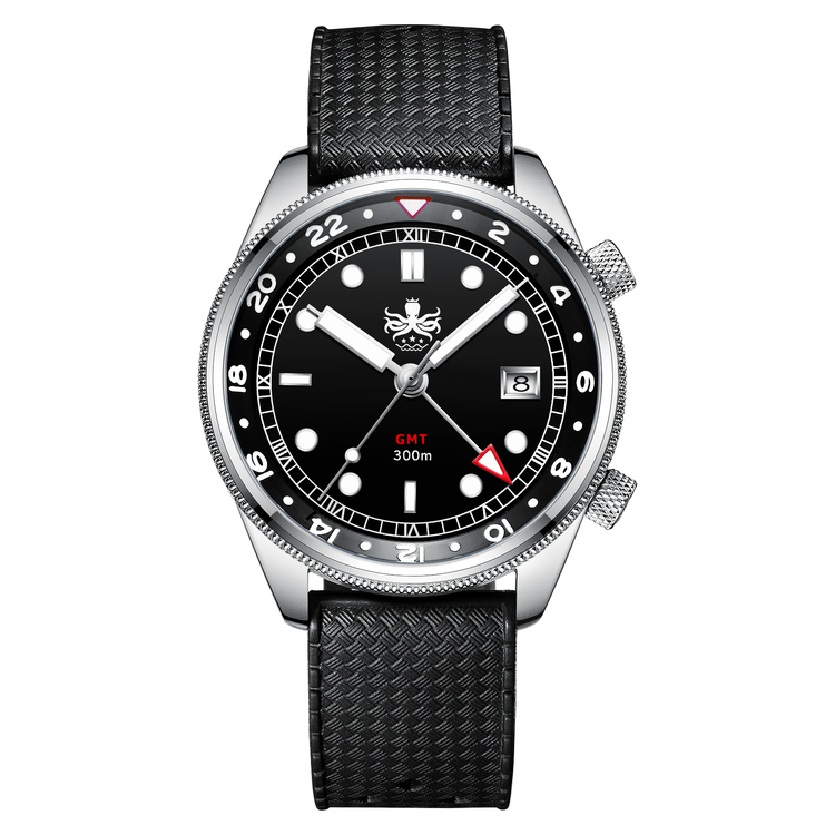 PX023 C Black/Silver Eagle Ray Quartz GMT