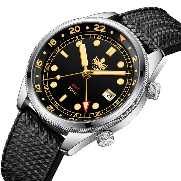 PX023D Black/Gold Phoibos Eagle Ray  Quartz GMT